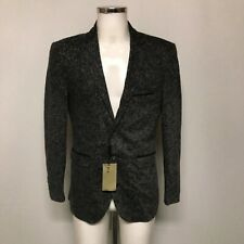 New Burberry Blazer Mens UK 42 US 52 Black Grey Wool Single Breasted 333302