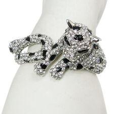 Fashion Leopard Panther Animal Bangle Cuff Clear Austrian Crystal Silver Tone