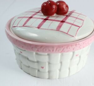 Bella Casa by Ganz 3D Cherry Picnic Bowl Dish & Lid Ceramic Bowl Kitchen Decor