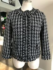 Ann Taylor Womens 2 Black/white Checked Tweed Snap Front 3/4 Sleeve Blazet S#