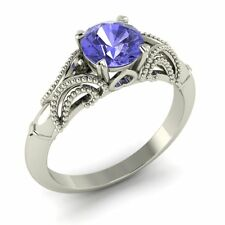 Solid White Gold Solitaire Engagement Ring Certified 0.80 Cts Real Tanzanite 14K