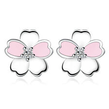 Hot Solid Silver Crystal Pink Cherry Blossom Stud Earrings Women Wedding Jewelry
