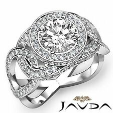Halo Pave Set Round Cut Diamond Engagement Ring GIA F SI1 14k White Gold 2.8ct