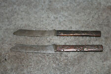 Two Antique Gorham Sterling & Bronze Mixed Metals Japanese Fruit Knives