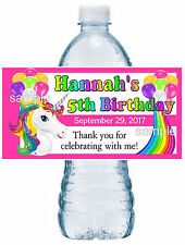 20 RAINBOW UNICORN BIRTHDAY PARTY FAVORS ~ WATER BOTTLE LABELS  waterproof ink