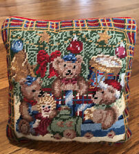 "Vintage Teddy Bear Toys Under the Tree Christmas Needlepoint Pillow 9.5"" x 9.5"""