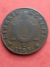 1 Sol aux Balances ( convention ) 1793 L de L'an II Type François