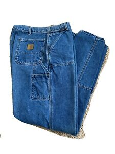 CARHARTT B73 Double Knee Washed Denim Loose Fit Logger Carpenter Jeans 38x34