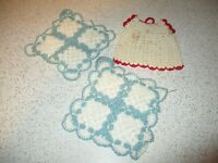 Lot of 3 Vintage Light Blue and White Crochet Hot pad  / Pot holders
