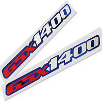 GSX 1400 motorcycle decals custom graphics red & white on blue chrome