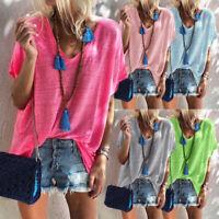 Women Deep V-neck Short Sleeve Solid Casual T Shirt Beach Loose Blouse Tops