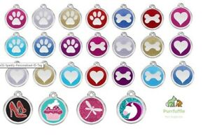 RED DINGO GLITTER ENGRAVED DOG / CAT IDENTITY TAGS Sparkly Personalised ID Tag