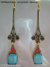 Art Deco Art Nouveau earrings vintage blue rose crystal drop long 1920s style