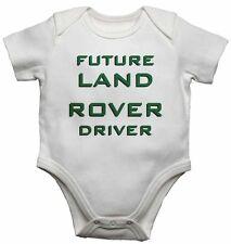 Futuro Land Rover Conductor Personalizado Bebé Camisetas Bodis Niño Niña Blanco