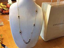 $34.99 Ann Taylor Long Gold Geometric Necklace w/Black Beads 141