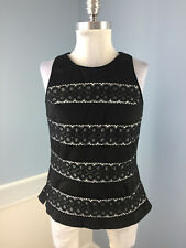 White House Black Market Sleeveless Top Black Lace White Stripes Shirt Dressy 10