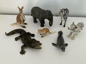 Schleich Asian Elephant, Zebra, White Tiger, Crocodile, Seal, Kangaroo & Joey