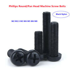 M2/2.5/3/4/5/6/8 Black Plastic Nylon Phillips Round/Pan Head Machine Screw Bolts