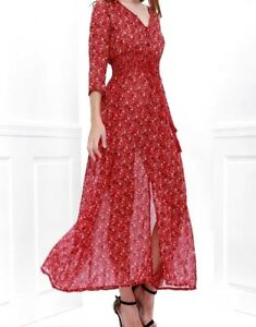 Women's Printed High Slit Maxi Dress With 3/4 Sleeves Ladies Long Party dress(L)