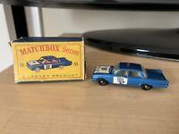 Vintage Lesney Matchbox # 55 Ford Fairlane Police Patrol Car with original box