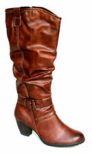 Marco Tozzi Womens UK 8 (EU 42) Cafe Antic Brown Knee High Tall Brand New Boots