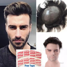 Thin Skin PU Human Hair Toupees for Men Gents Hairpieces Hair Replacement Tapes