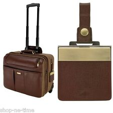 Bettoni Brown Napa Leather/Canvas Wheeled Business Case - New