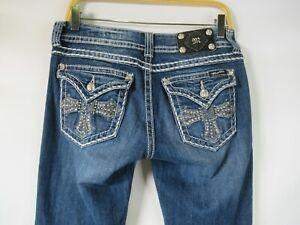 H0678 Women Miss Me Cross Crystal Pocket Denim Jeans Size 29
