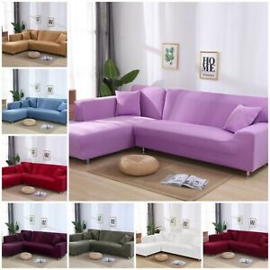 Sectional Sofa Cover L-Shape Corner Tight Wrap Stretchable Polyester Sofa Case