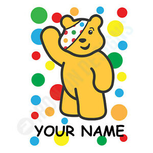CHILDREN IN NEED SPOTS WAVING PERSONALISED - IRON ON TSHIRT TRANSFERS -  A5 A4