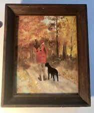 "1950's Oil Painting Hunter With Black Lab ""Game Bird Hunting"" 12"" X 10"""