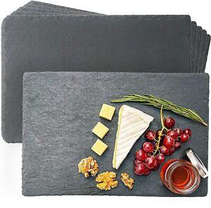 Schieferplatten 6er Set 30x20 cm Servierplatten Platzset Untersetzer Schwarz