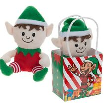 Christmas Gift Bag Sitting Plush Elf Soft Toy Teddy Stocking Filler Toys Shelf
