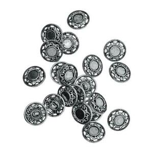 Pack of 30pcs Antique Silver Engraved Metal Shank Buttons DIY Sewing Craft