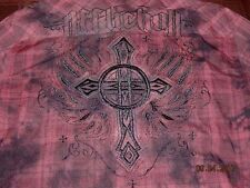AFFLICTION TEA STAIN BUTTON SHIRT size XL EMBROIDERED CROSS SKULL DETAIL RARE!
