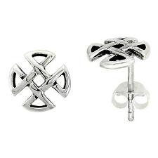 Sterling Silver Quaternary Celtic Trinity Knot Stud Earrings