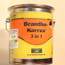 """(22,00€/l) 3L BRANTHO KORRUX """"3 in 1"""" tiefschwarz RAL 9005 Rostschutzfarbe"""