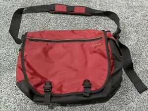 "LL Bean commuter MESSENGER computer 20"" BAG red quickload shoulder strap #271887"