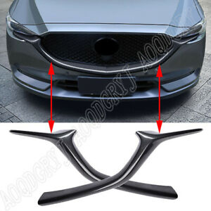 For Mazda CX-5 2017-2020 Carbon Fiber Look Front Bumper Grill Grille Trim Cover
