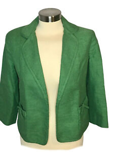Talbots Size 2 Almost Grass Green blazer, two front pockets, Cotton/linen blend