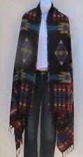 Yak Wool Blend|Shawl/Throw|Handloomed|Nepal|Reversible|Black/Red/Tan/Cyan/Purple