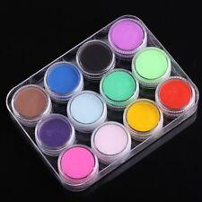 12 Color Nail Art Sculpture Caving Acrylic Powder Glitter Pigment Decoration Kit