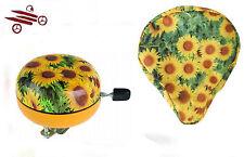 SET : M- WAVE Fahrradklingel / Glocke 2-klang- 80 mm & Sattelbezug  Sonnenblume