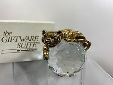 28b899e5cba5 Swarovski Trimlite Giftware Gold Tiger Paperweight With Clear Crystal Rare