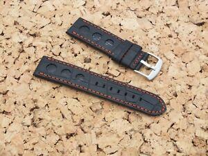 Genuine Leather Croc Grain QR Rally Watch Strap 23mmR Black Watchgecko / Geckota