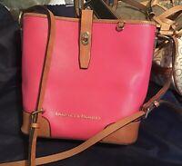 Dooney Bourke Claremont Leather Crossbody Bucket Bag Fuchsia Pink Brown Chevron