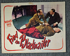 FIND THE BLACKMAILER orig 1943 lobby card movie poster JEROME COWAN/JOHN HARMON