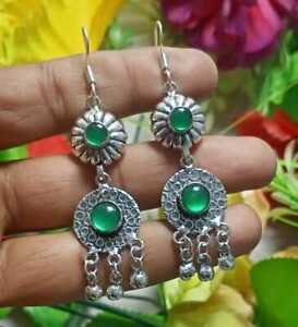 New Design Green Onyx Gemstone Earring 925 Sterling Silver Plated E224