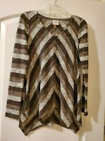 Knox Rose Womens Size XS Top Gray Black Multicolored Long Sleeve Tunic