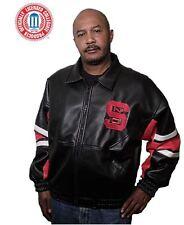 Men's North Carolina State Poly Vinyl Black and Red Varsity Jacket: Size L